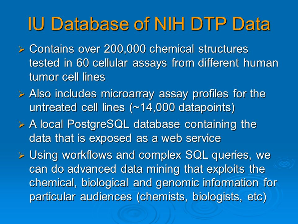 IU Database of NIH DTP Data