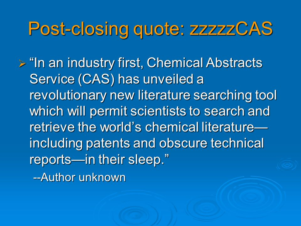 Post-closing quote: zzzzzCAS