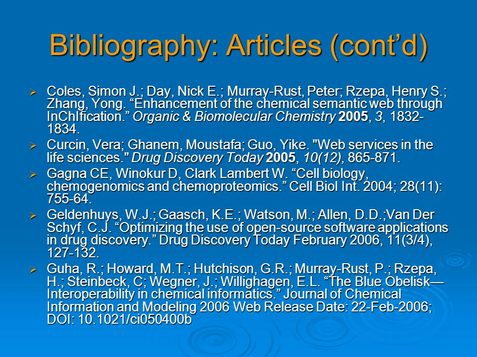 Bibliography: Articles (cont'd)