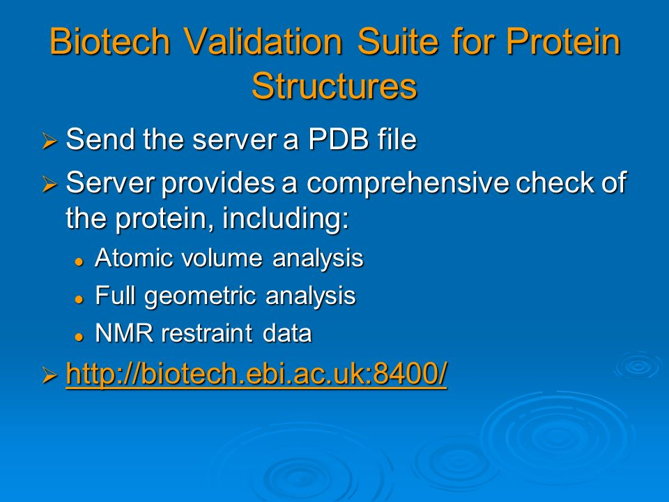 Biotech Validation Suite for Protein Structures