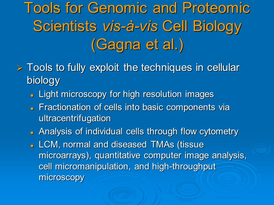 Tools for Genomic and Proteomic Scientists vis-à-vis Cell Biology (Gagna et al.)