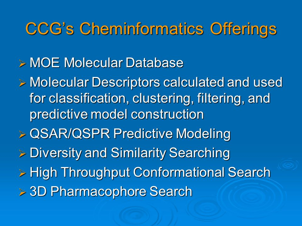 CCG's Cheminformatics Offerings
