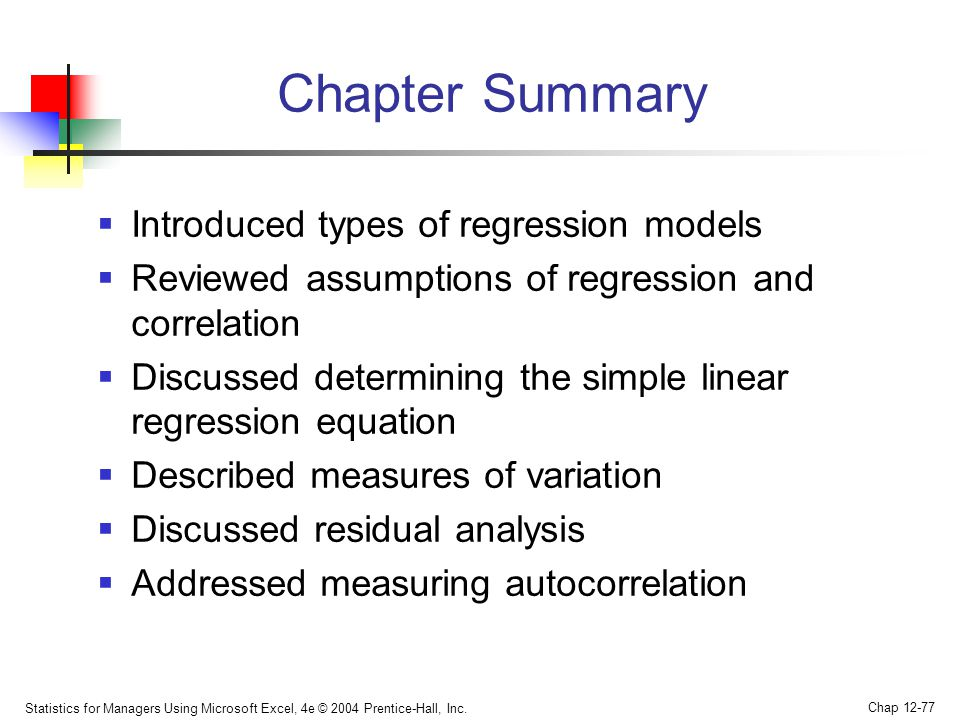 types of regression Simple linear regression gets its adjective simple, because it concerns the study of only one predictor variable in contrast, multiple linear regression, which  types of relationships before proceeding, we must clarify what types of relationships we won't study in this course, namely, deterministic (or functional) relationships here is an.