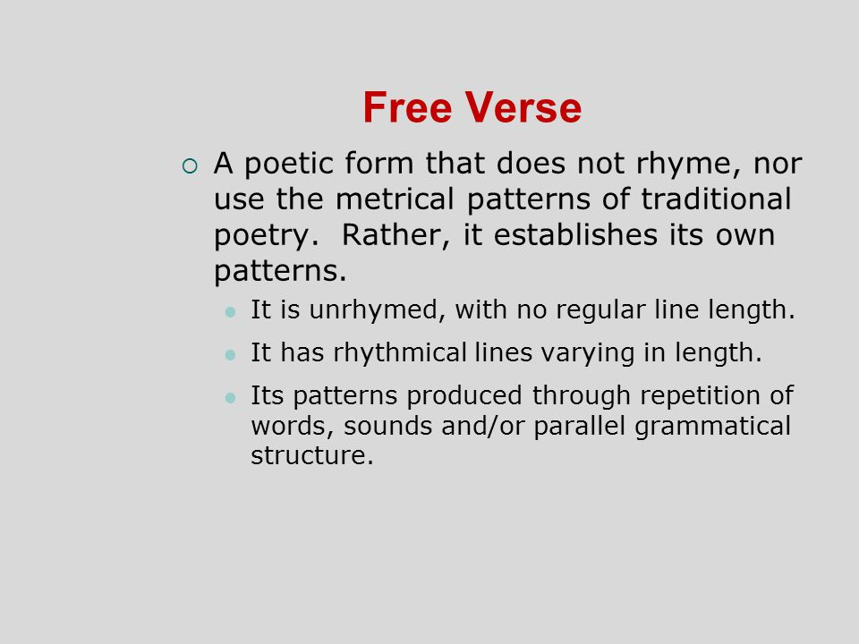 poetic form meter essay Poetic terms common closed-form poetry (poetry written in specific and traditional patterns produced through rhyme, meter, line-length, and line grouping)1.
