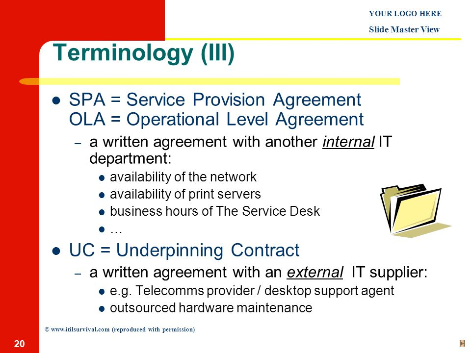 Business Service Level Agreement Thus From A Contract Perspective