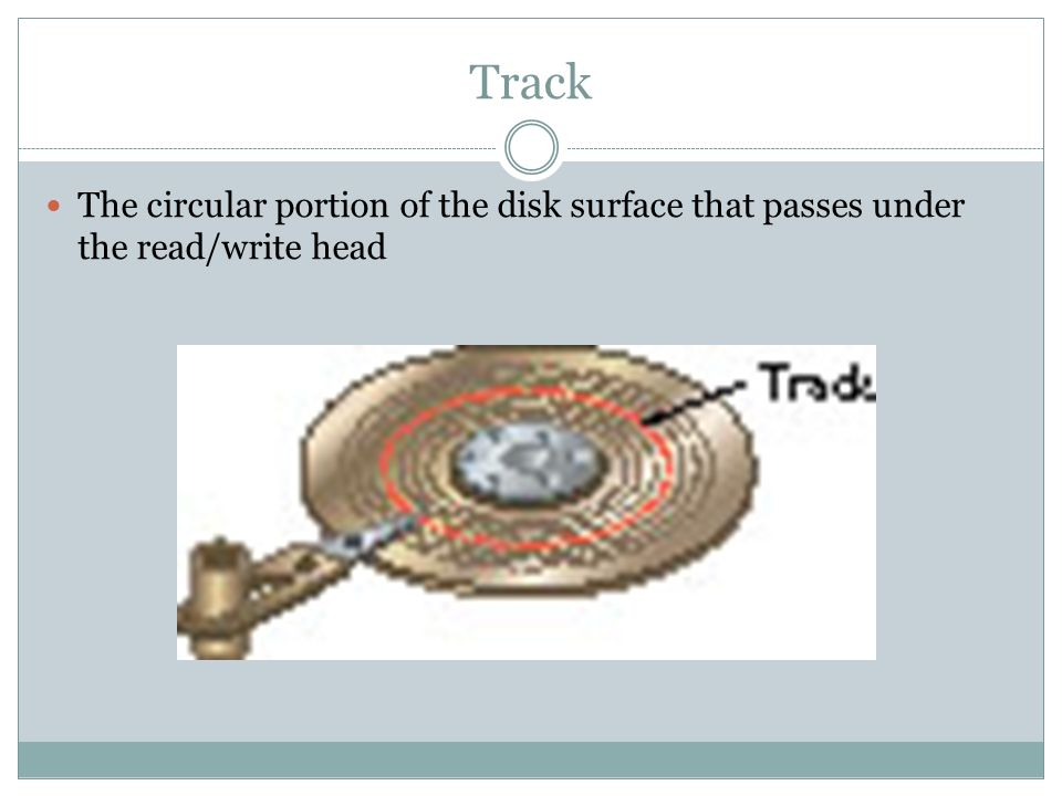 Track The circular portion of the disk surface that passes under the read/write head