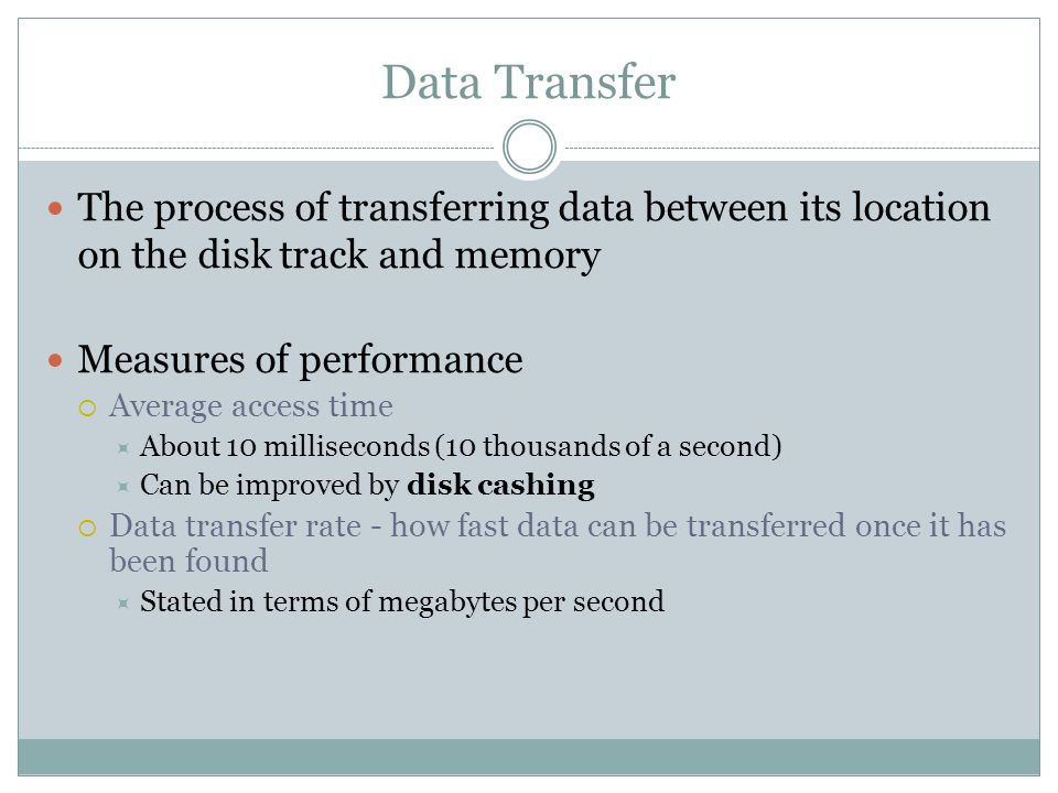 Data Transfer The process of transferring data between its location on the disk track and memory. Measures of performance.