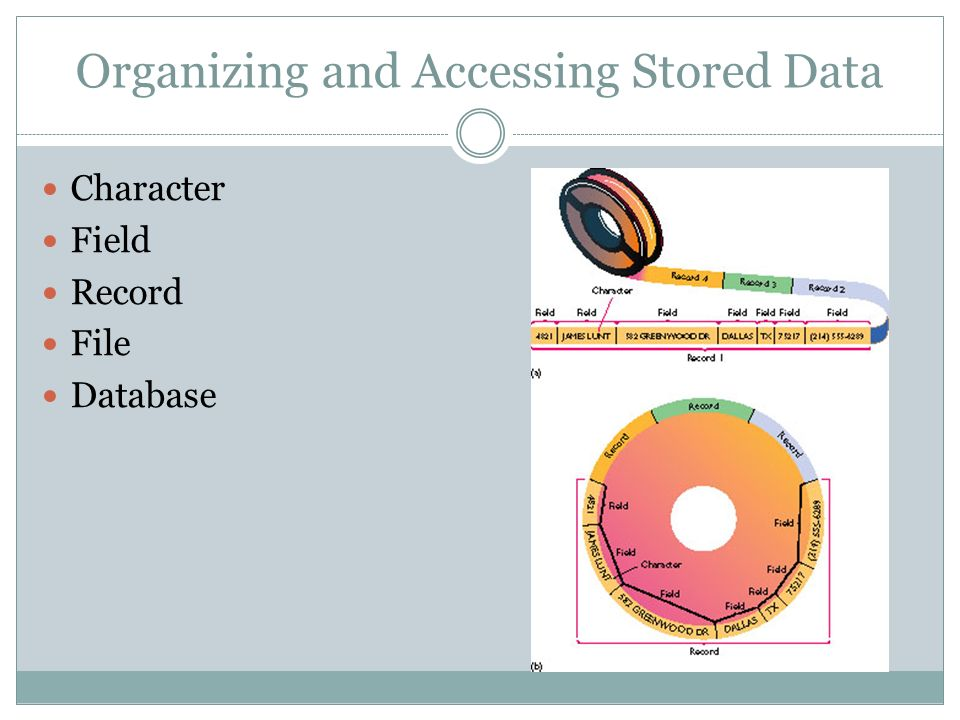 Organizing and Accessing Stored Data