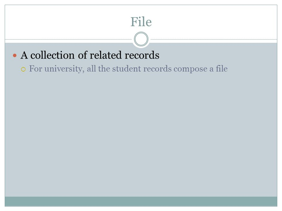 File A collection of related records