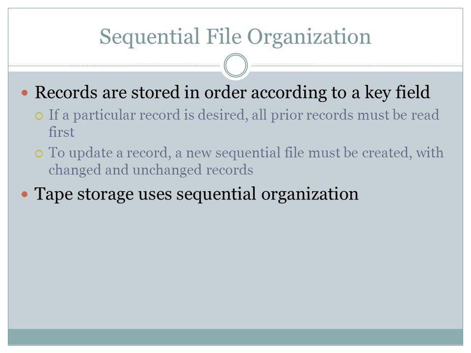 Sequential File Organization
