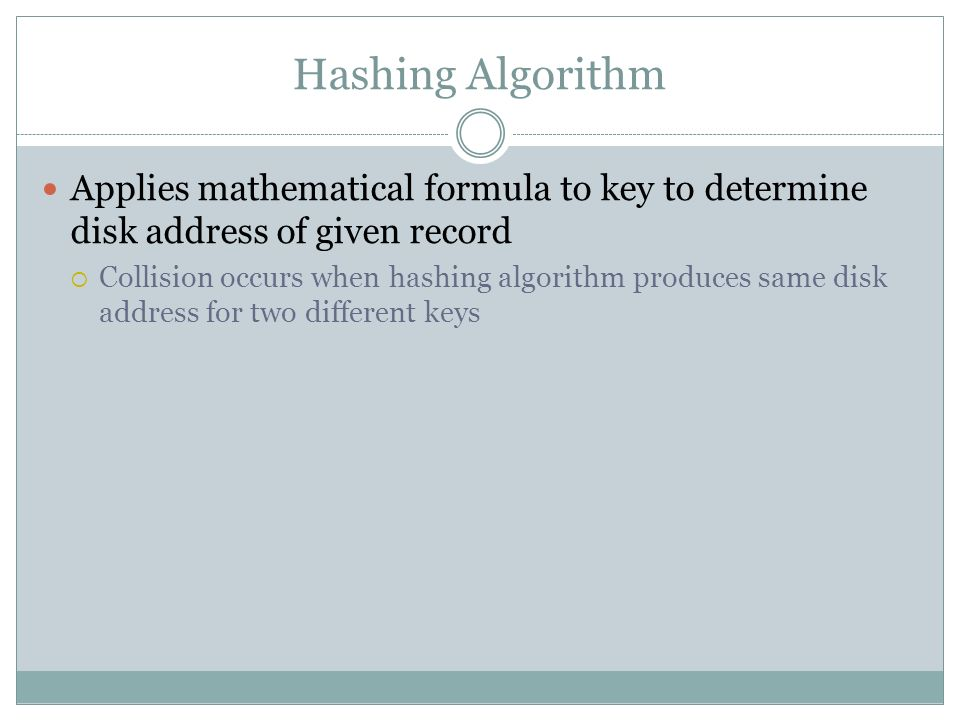 Hashing Algorithm Applies mathematical formula to key to determine disk address of given record.