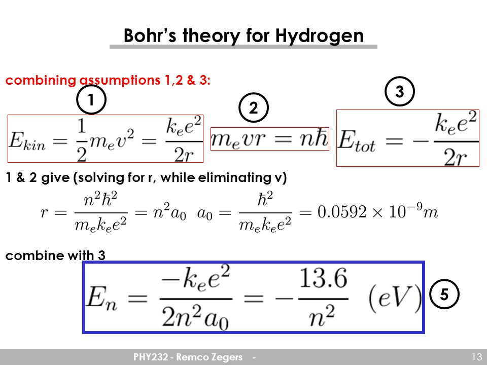 Bohr's theory for Hydrogen