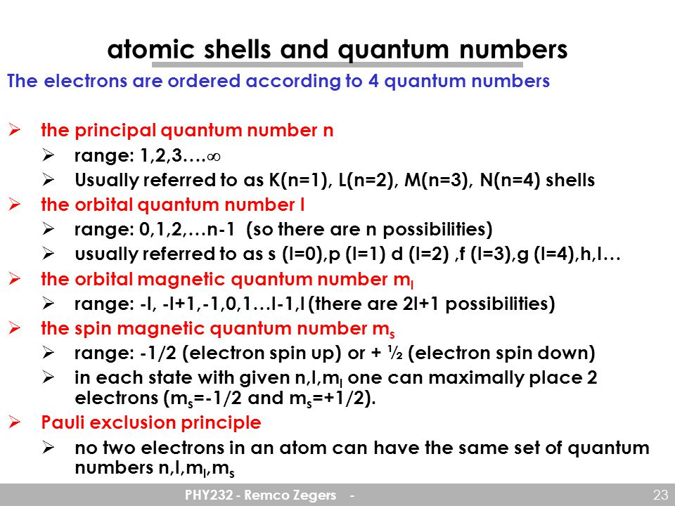 atomic shells and quantum numbers