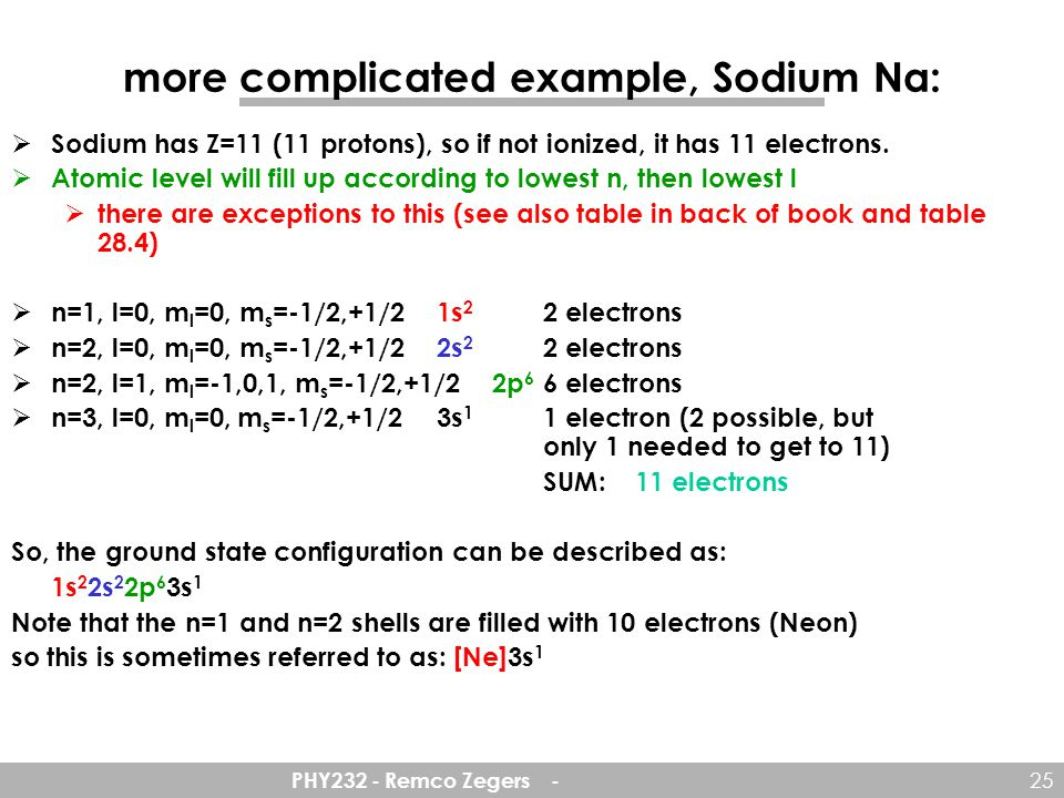 more complicated example, Sodium Na: