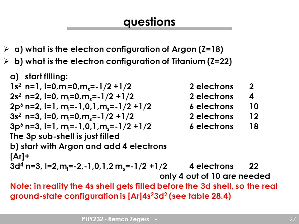 questions a) what is the electron configuration of Argon (Z=18)