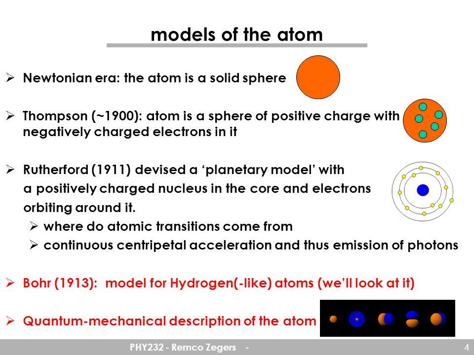 models of the atom Newtonian era: the atom is a solid sphere