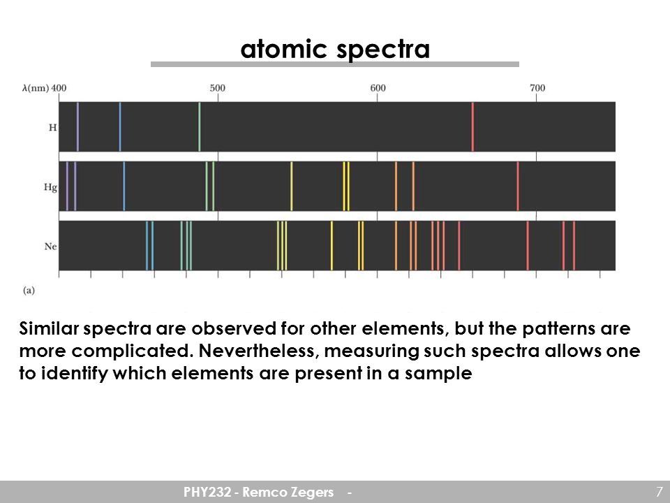 atomic spectra Similar spectra are observed for other elements, but the patterns are.
