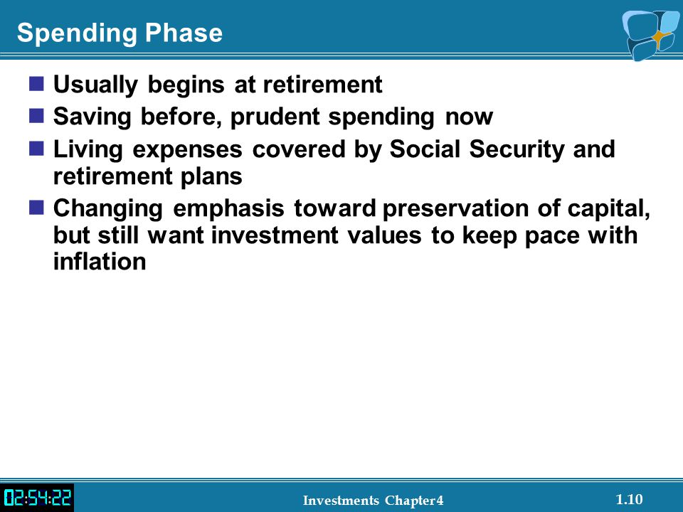 Spending Phase Usually begins at retirement