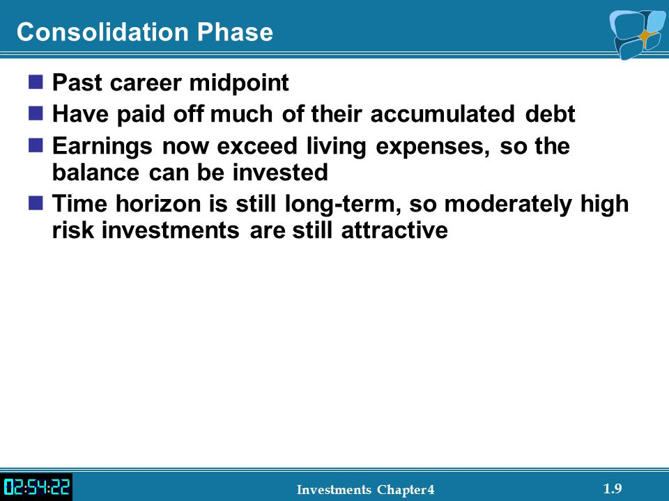 Consolidation Phase Past career midpoint