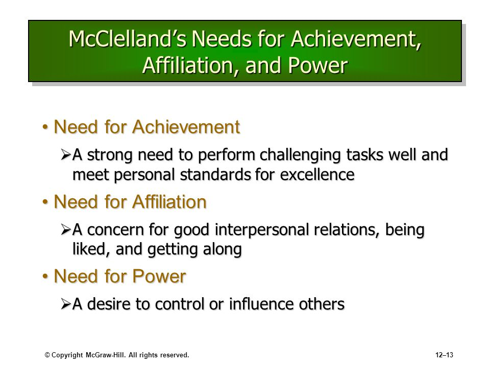 disadvantage s of need for affiliation Strengths and weaknesses of mcclelland's acquired needs theory and expectancy theory motivation play an important role in today's work environment as motivated employees are more productive employees.