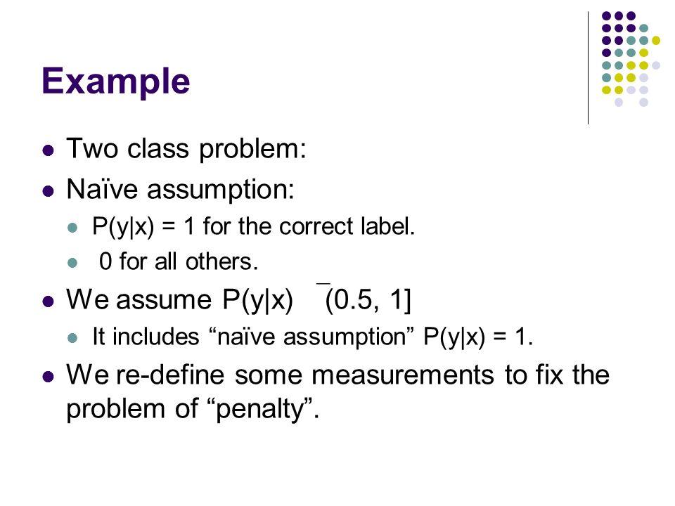 Example Two class problem: Naïve assumption: