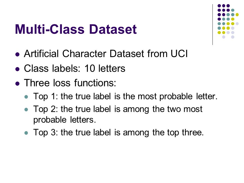 Multi-Class Dataset Artificial Character Dataset from UCI