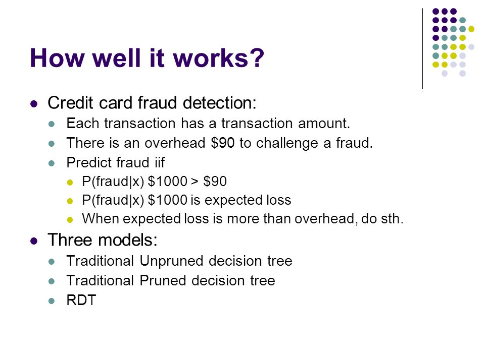 How well it works Credit card fraud detection: Three models: