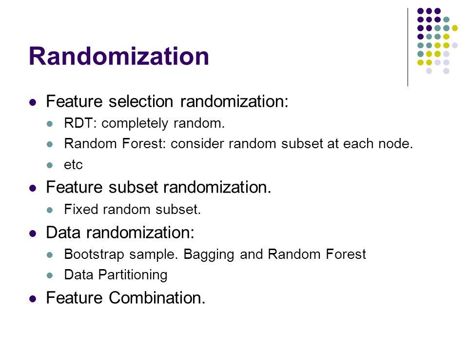 Randomization Feature selection randomization: