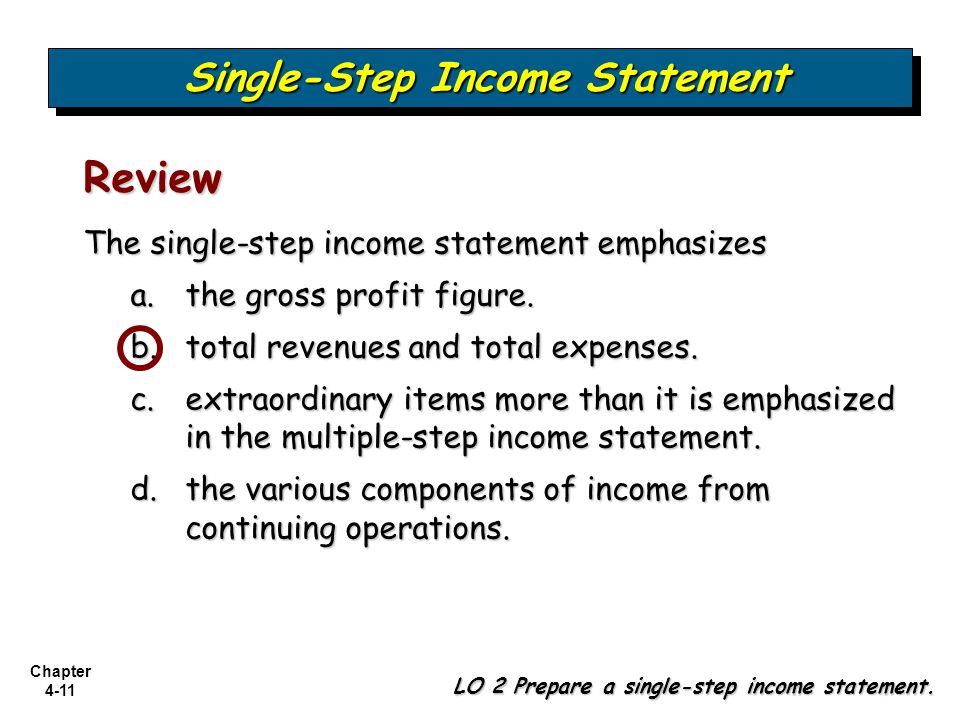 Single Step Income Statement  Components Of Income Statement
