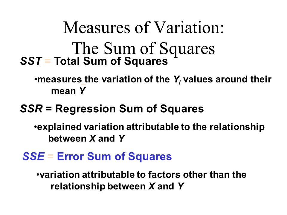 Measures of Variation: The Sum of Squares