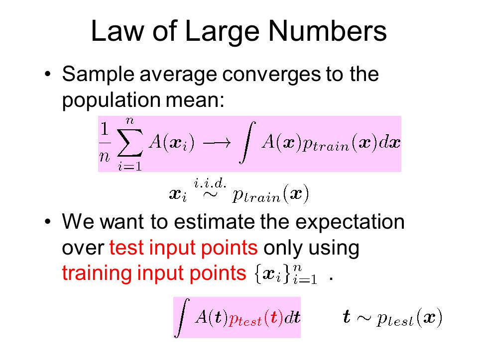 Law of Large Numbers Sample average converges to the population mean: