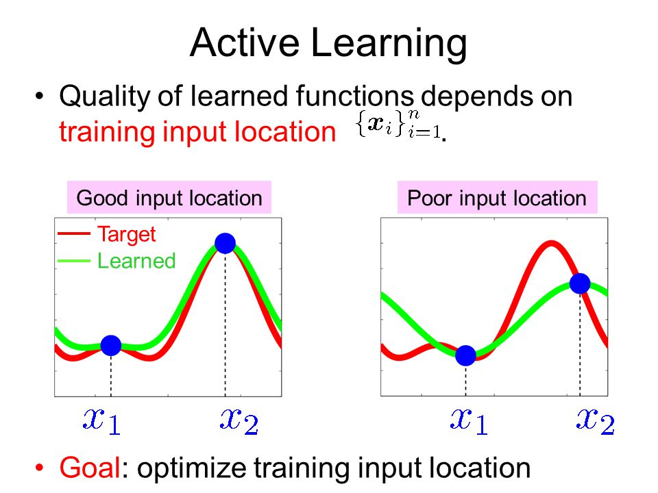 Active Learning Quality of learned functions depends on training input location . Goal: optimize training input location.