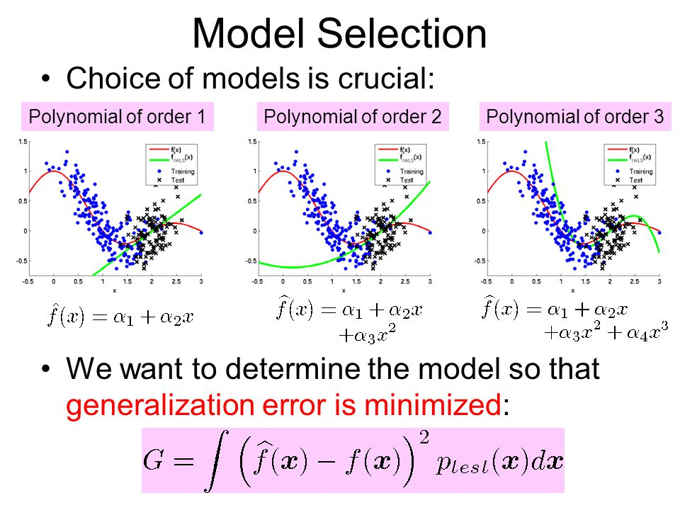 Model Selection Choice of models is crucial: