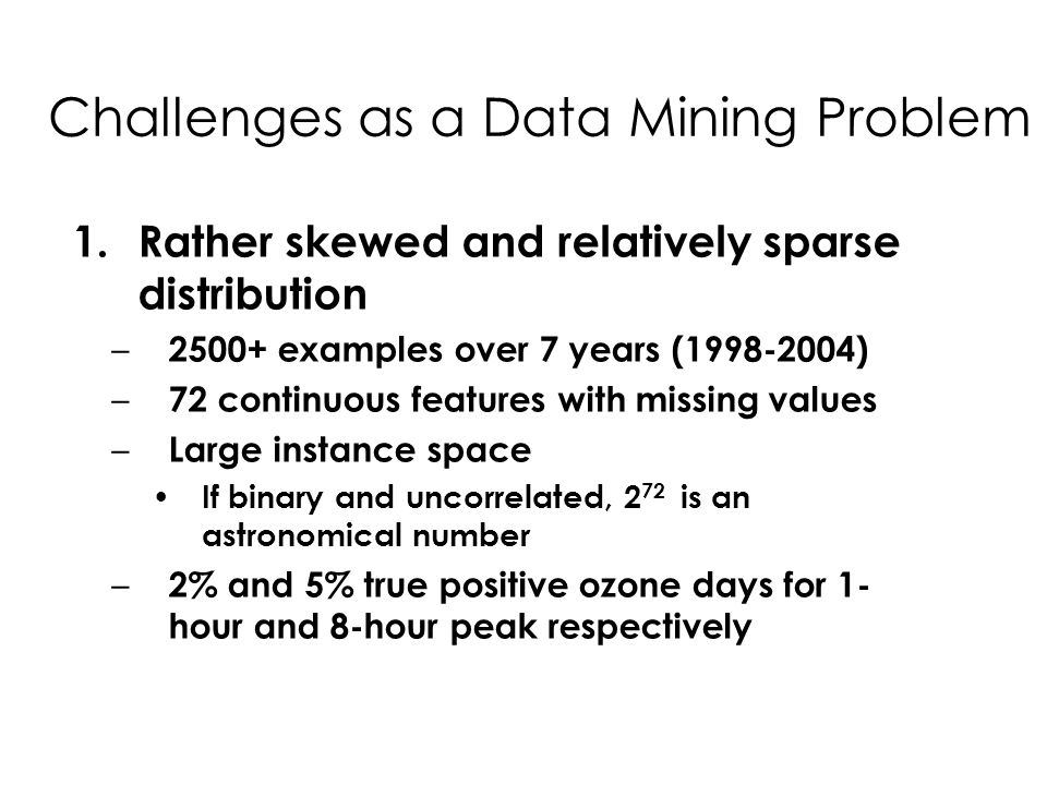 Challenges as a Data Mining Problem