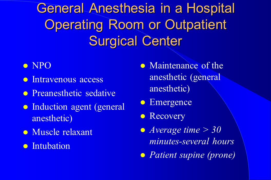 General Anesthesia in a Hospital Operating Room or Outpatient Surgical Center