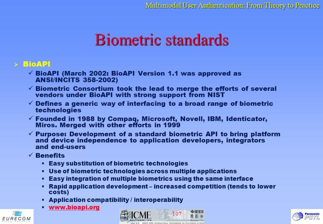 Biometric standards BioAPI