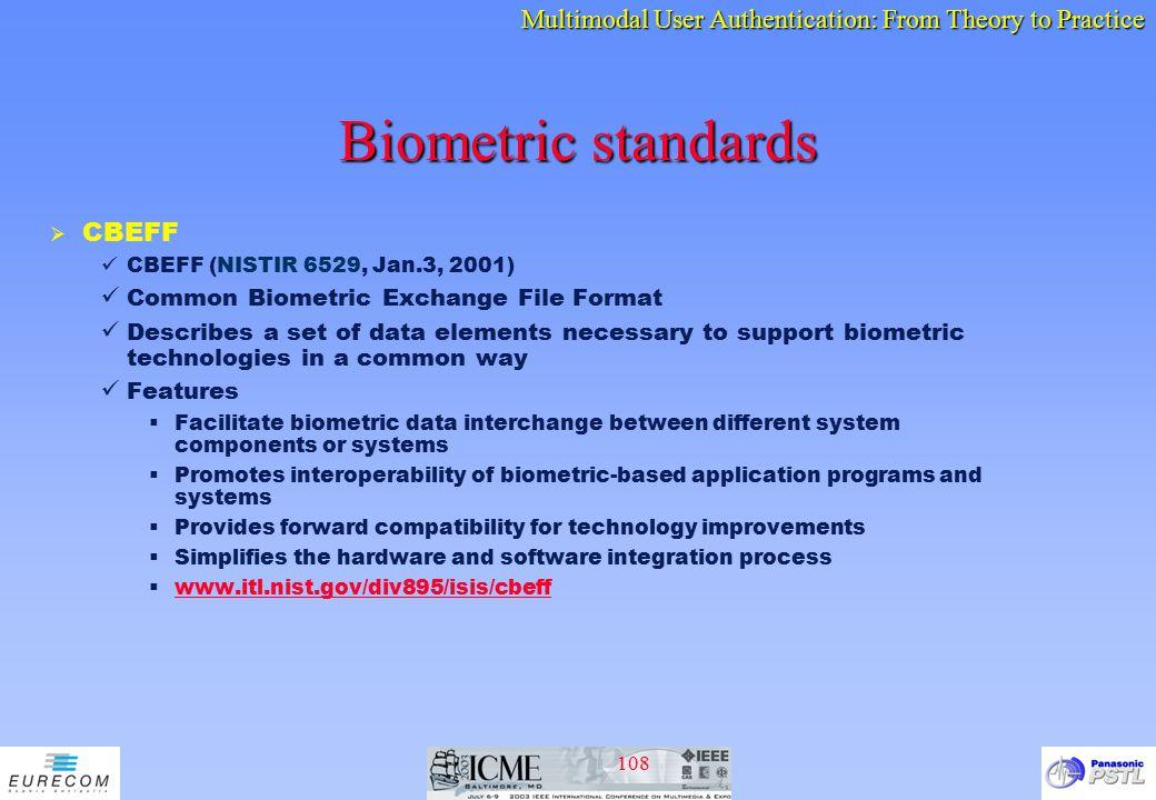 Biometric standards CBEFF Common Biometric Exchange File Format