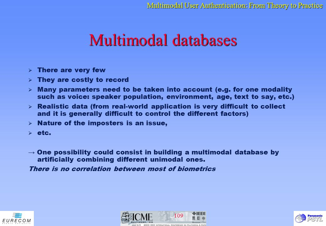 Multimodal databases There are very few They are costly to record