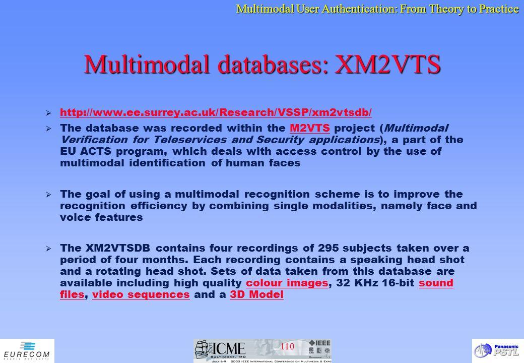 Multimodal databases: XM2VTS