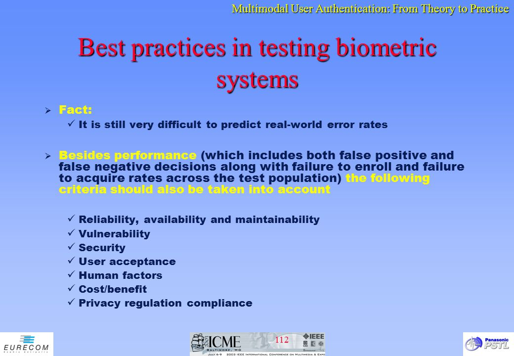 Best practices in testing biometric systems