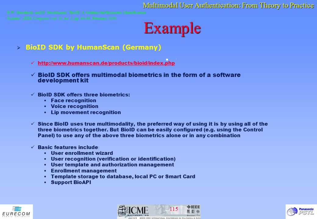 Example BioID SDK by HumanScan (Germany)