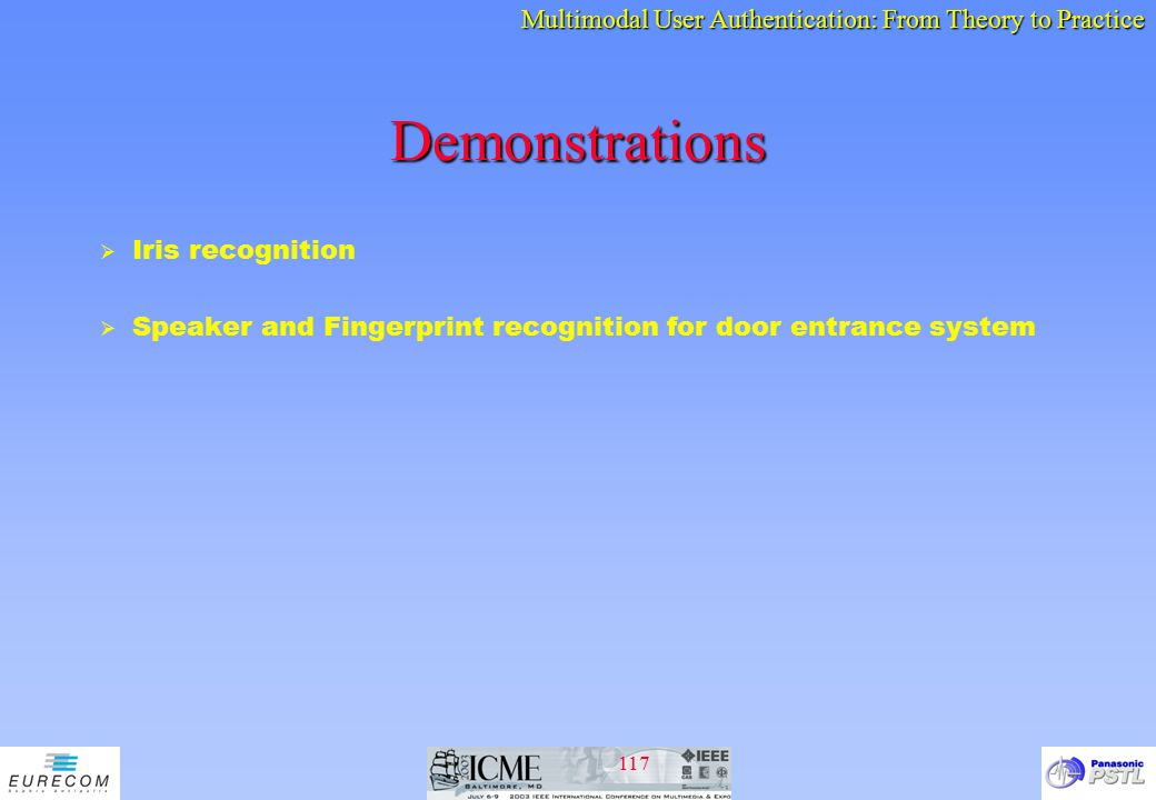 Demonstrations Iris recognition