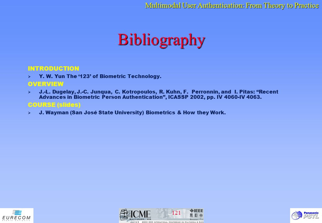 Bibliography INTRODUCTION OVERVIEW COURSE (slides)