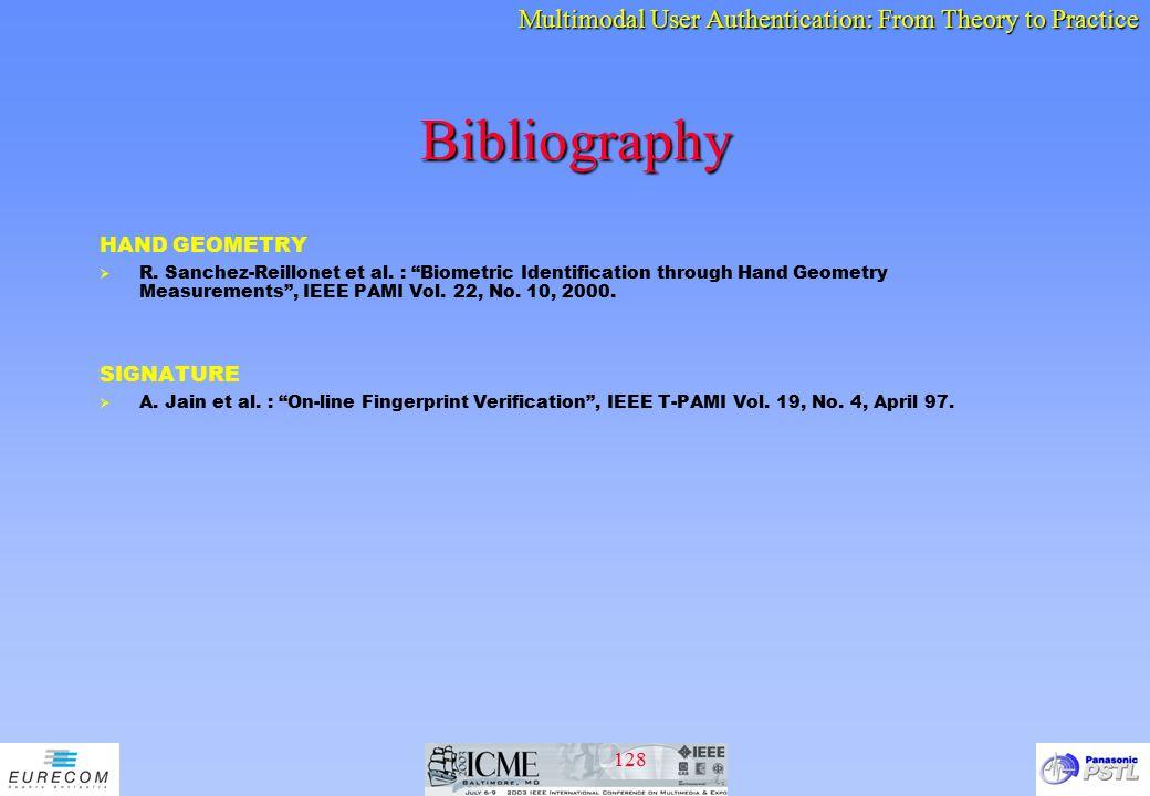Bibliography HAND GEOMETRY SIGNATURE