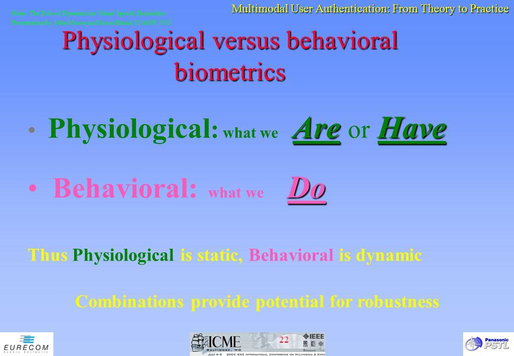 Physiological versus behavioral biometrics