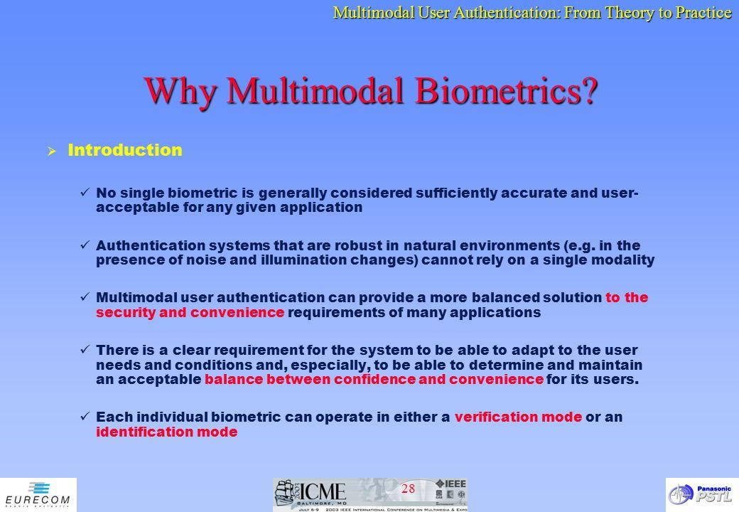 Why Multimodal Biometrics