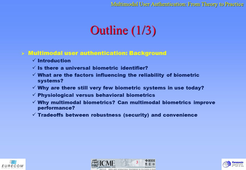 Outline (1/3) Multimodal user authentication: Background Introduction