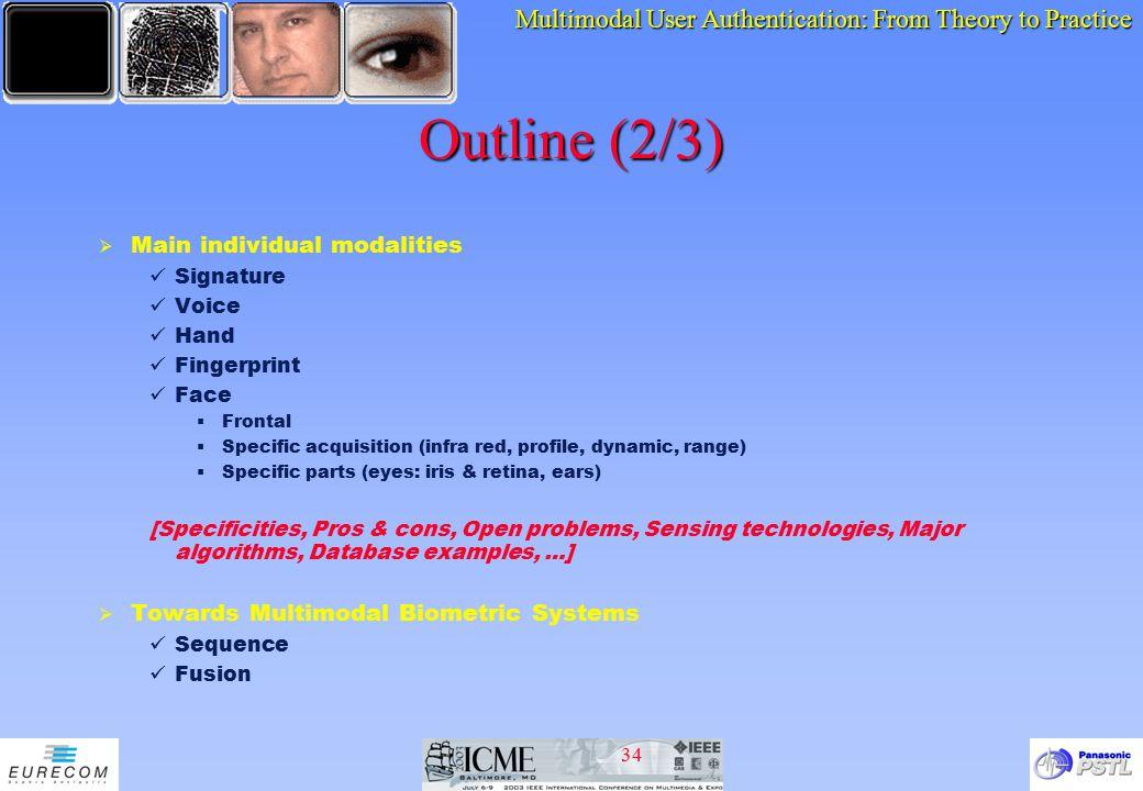 Outline (2/3) Main individual modalities
