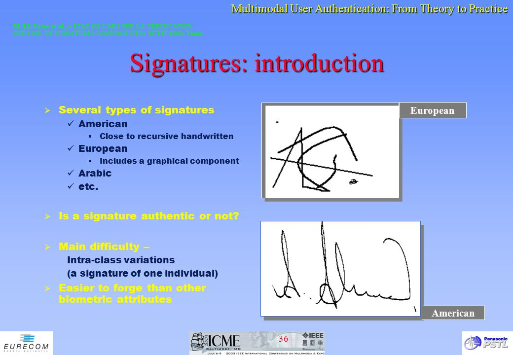 Signatures: introduction