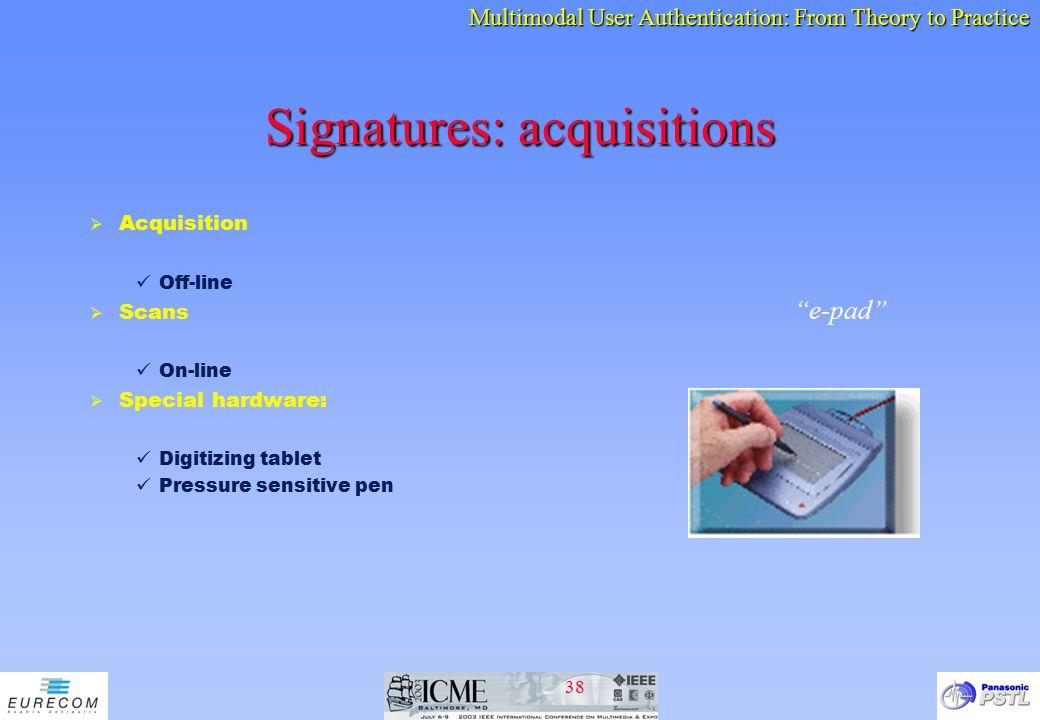 Signatures: acquisitions
